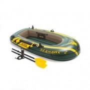 Set barca gonflabila / pneumatica Intex 68347NP Seahawk 2, pentru 2 persoane, 236 x 114 x 41 cm + vasle