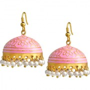 Spargz Traditional Daily Wear Alloy Pink Color Gold Plated Glossy Finish Meenakari Jhumki Earring AIER 1027