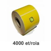 Role de etichete semilucioase galbene 100x40mm, 4000 et./rola