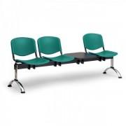 Kovo Praktik Plastové lavice ISO II, 3-sedák + stolek, chrom nohy černá