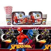 Cedar Crate Market Spiderman Suministros para fiestas Pack para 16 huéspedes: Pajitas, platos, vasos, servilletas, y funda para mesa (Bundle para 16)