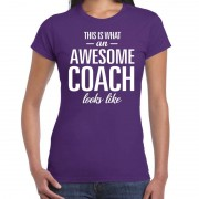 Bellatio Decorations Awesome coach cadeau t-shirt paars voor dames - Coach bedankt cadeau XL - Feestshirts