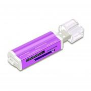Multi-función De Todo En 1 Lector De Tarjetas De Memoria USB 2.0 Lector De Tarjetas Mini Metal Morado