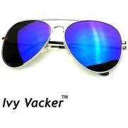 Ivy Vacker Blue Mirrored Unisex Aviator Sunglass