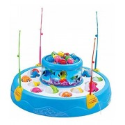 WoW Toyz Fish Catching Game Big with 26 Fishes and 4 Pods Fishing Game Includes Music and Lights (Multicolor
