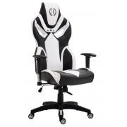 CLP Sedia da ufficio racing Fangio, in similpelle, nero/bianco , nero/bianco, altezza seduta