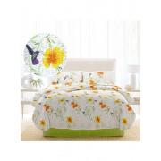 Lenjerie de pat 2 persoane, Dormisete, crepe, imprimata, Rosemallow-Lime, 220 x 230 cm, bumbac, Verde