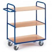 Rollcart Etagenwagen ohne Wände 1070mm hoch mit 3 Ladeflächen 800x490mm im Buchendekor ohne Rand