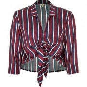 River Island Womens Red stripe satin tie front shirt
