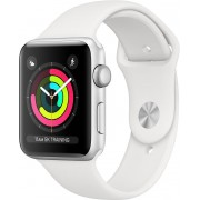 Apple Watch Series 3 GPS, 38mm Silver Aluminium Case with White Sport Band, mtey2cn/a