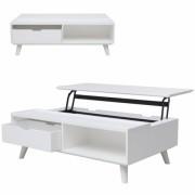 DECOME Table basse coffre blanche avec plateau relevable + tiroir Ferdina