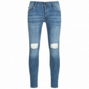 BRAVE SOUL Crofton Stretch Skinny Herren Denim Cut Out Jeans MJN-CROFTON