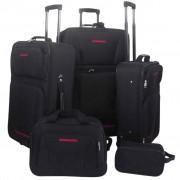 vidaXL Conjunto malas de viagem 5 pcs preto