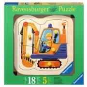 Детски дървен пъзел 5 елемента - Жълт багер, Ravensburger, 7003226