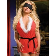 Dreamgirl Santa's Naughty List Sheer Knit Babydoll Set