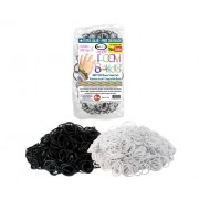 Toy Loom Bands 5000 Pc Rubber Band Refill Mega Value Pack With Clips - 100% Compatible With All Looms Black / White