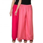 Palazzo - Culture the Dignity Women's Rayon Solid Palazzo Ethnic Pants Palazzo Ethnic Trousers Combo of 2 - Magenta - Baby Pink - C_RPZ_M1P2 - Pack of 2 - Free Size