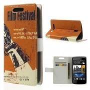 B2Ctelecom HTC Desire 500 Wallet Stand Case Film Festival Design