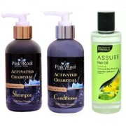 PINK ROOT ACTIVATED CHARCOAL SHAMPOO CONDITIONER WITH ASSURE HAIR OIL ARNICA TEA TREE OIL 200ML