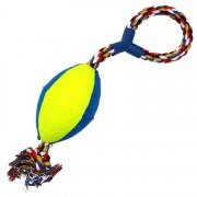 Jucarie minge rugby bumbac pentru caini, 4Dog