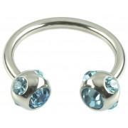 Jewelled Hoefijzer Licht Blauw Piercing