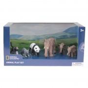 Set 6 figurine Elefantul si puii, Maimuta, Raton, Urs Panda National Geographic, 3 ani+