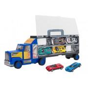 Camion albastru care transporta 6 masinute metalice, Globo Spidko, multicolor