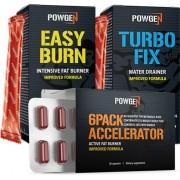 PowGen Sixpack Paket Der Weg zu Bauchmuskeln 6Pack Accelerator: 30 Kapseln, Turbo Fix: 10 Beutel, Easy Burn: 15 Beutel Powgen