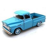 1958 Chevy Apache Fleetside Pickup Truck, Light Blue - Motormax 79311 - 1/24 scale Diecast Model Toy Car