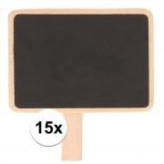 Merkloos 15x Krijtbordjes/memobordjes op knijper 7 x 5 cm