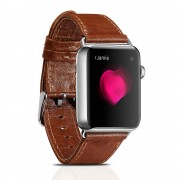 ICARER Classic Genuine Leather Wrist Band for Apple Watch Series 4 44mm / Series 3 / 2 / 1 42mm - Dark Brown