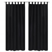 vidaXL 2 pcs Black Micro-Satin Curtains with Loops 140 x 245 cm