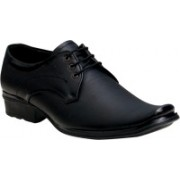 Oora Black With Fine Lining Design Lace Up Shoes For Men(Black)