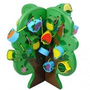 Segolike WOODEN THREADING BEADS SET FRUITS TREE PUZZLE GAME KIDS DEVELOPMENTAL TOY #A