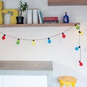 Guirlande Guinguette 14,25m 60 LED Multicolore Câble Noir Raccordable Série Essentielle