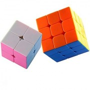 Dreampark 2 Pack Stickerless Magic Cube Puzzles - 2x2x2 Speed Cube 3x3x3 Smooth Speed Cube Colorful