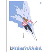 Alpine Mountain, Pennsylvania Stylized Skier (Woman) (Playing Card Deck 52 Card Poker Size With Jokers)