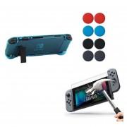 Nintendo Switch Funda Acrílico + Mica + Grips - Azul