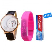 Buy 1 Moving Beads Watch Pink Led Watch And Get Colgate Max Fresh Free