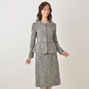 東京ソワール コットン混ニットツイードスーツ【QVC】40代・50代レディースファッション
