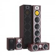 Auna V9B Juego de altavoces con sonido envolvente Set de 5 altavoces 440W RMS caoba (JO2-V9B-MA)