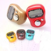 Mini Finger Hand Held Tally Counter LCD Electronic Digital Ring Finger Watch (Set of 5 Pcs.) Assorted Colors