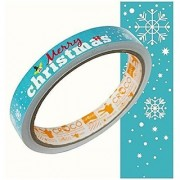 Chic CROCO Glossy Printed Sticker Roll Merry christmas Light Blue