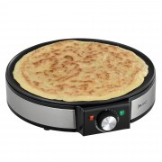 [in.tec]® Palacsintasütő - tapadásgátló sütőfelület palacsinta tészta terítővel és spatulával - Ezüst/Fekete - 1200W - 220-240V - 50-60Hz