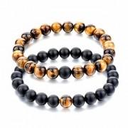 REBUY Tiger Eye Bracelet with Black Tourmaline Bracelet Combination for Unisex 8MM Beads Size