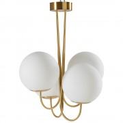 Maisons du Monde Lámpara de araña de 4 globos de cristal blanco y metal dorado