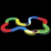 Fancyku 220 pcs Glowing Race Car Twister Racing Track DIY Flashing Light Tracking Rail Glow in The Dark Flexible Railway for Mini Cars Kids