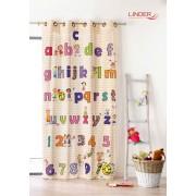 Draperie copii cu litere si cifre colorate