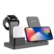 3 in 1 Desktop Vertical Wireless Charger for iPhone/Apple Watch/Airpods - Black