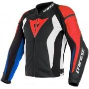 Dainese Nexus Leather Jacket Black/Lava Red/White/Blue 50